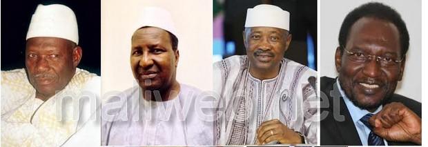 Moussa Traoré, Alpha Oumar Konaré, Amadou Toumani Touré Dioncounda Traoré (G-D)