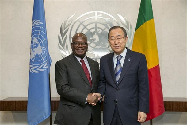 Ibrahim Boubacar Keita, et Ban Ki Moon,