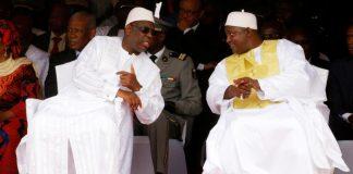 Macky Sall (g) et Adama Barrow (d) au Stade de l'Indépendance de Bakau