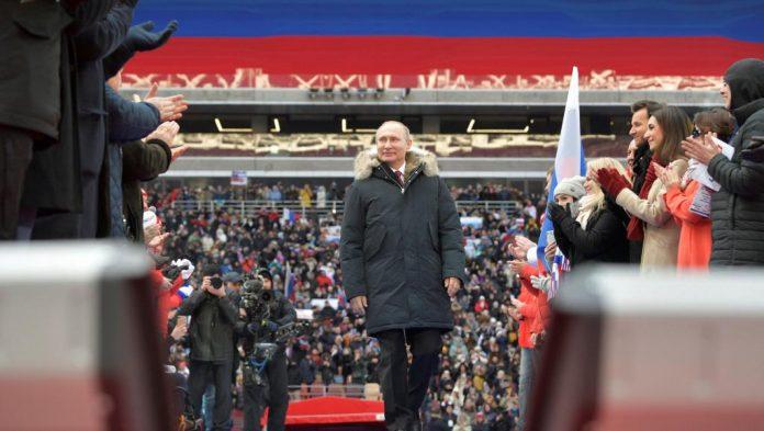 Vladimir Poutine, le 3 mars au stade Loujniki