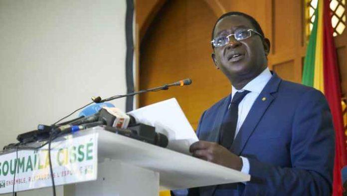 Conférence de presse de Soumaïla Cissé, le 17 août 2018 à Bamako.
